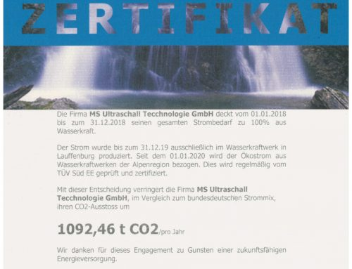 100% Wasserkraft bei der MS Ultraschall Technologie GmbH